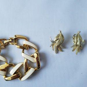Emmons Signed Gold Tone Clip On Earrings +Bracelet